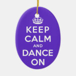 Keep Calm and Dance On Double-Sided Oval Ceramic Christmas Ornament