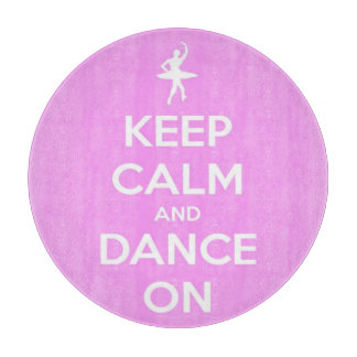 Keep Calm and Dance On Pink and White Round Cutting Board