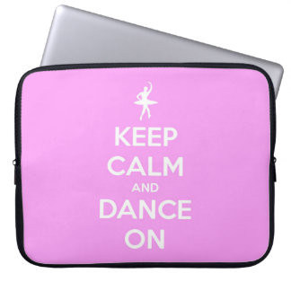 Keep Calm and Dance On Pink Laptop Computer Sleeves