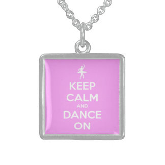 Keep Calm and Dance On Pink Square Pendant Necklace