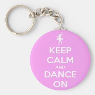 Keep Calm and Dance On Pink Round Keychain Basic Round Button Keychain
