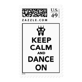 Keep calm and dance on postage stamps