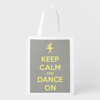 Keep Calm and Dance On Yellow on Grey Personalized Reusable Grocery Bag