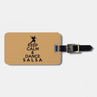 KEEP CALM AND DANCE SALSA gift Luggage Tag