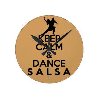 KEEP CALM AND DANCE SALSA gift Round Clock