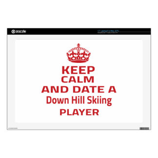 """Keep calm and date a Down Hill Skiing player 17"""" Laptop Skins"""