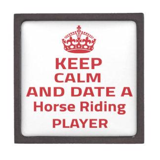 Keep calm and date a Horse Riding player Premium Keepsake Box