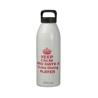 Keep calm and date a Scuba Diving player Reusable Water Bottles