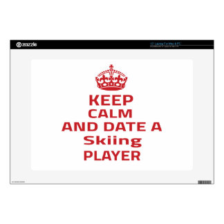 Keep calm and date a Skiing player Laptop Skins