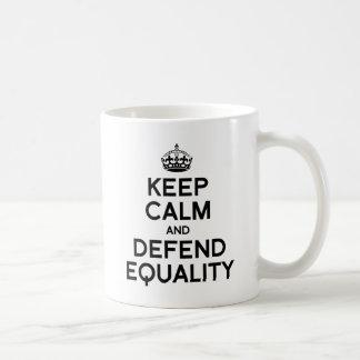 KEEP CALM AND DEFEND EQUALITY CLASSIC WHITE COFFEE MUG