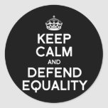 KEEP CALM AND DEFEND EQUALITY STICKERS