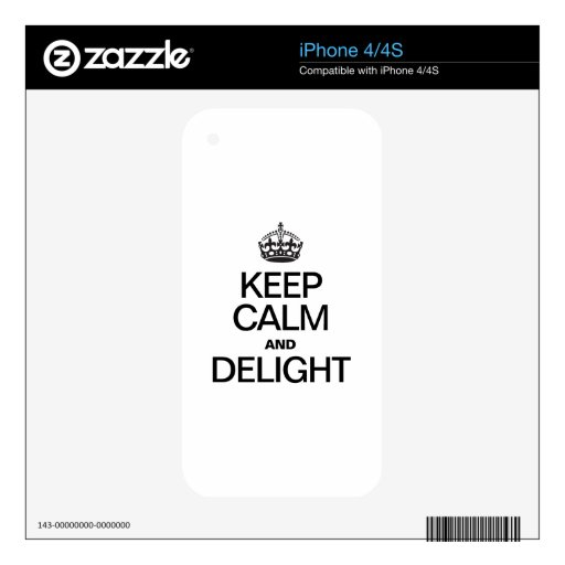 KEEP CALM AND DELIGHT DECAL FOR THE iPhone 4S