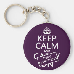 Basic Button Keychain with Keep Calm and Deny Everything design