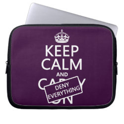 Neoprene Laptop Sleeve 10 inch with Keep Calm and Deny Everything design