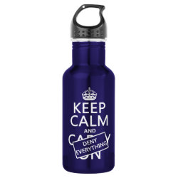 Water Bottle (24 oz) with Keep Calm and Deny Everything design