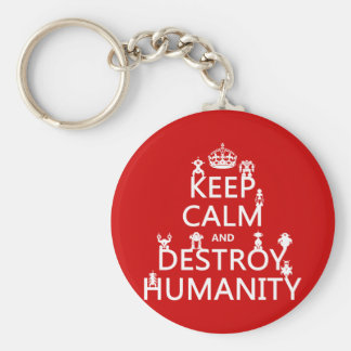 Keep Calm and Destroy Humanity (robots) Keychain