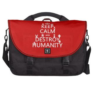 Keep Calm and Destroy Humanity robots Laptop Messenger Bag
