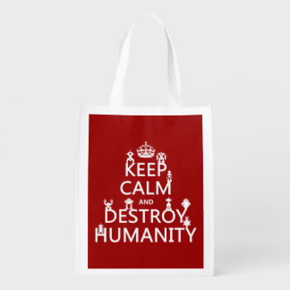 Keep Calm and Destroy Humanity (robots) Reusable Grocery Bags