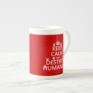 Keep Calm and Destroy Humanity (robots) Bone China Mugs
