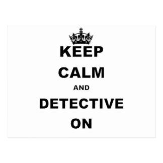 KEEP CALM AND DETECTIVE ON POSTCARD