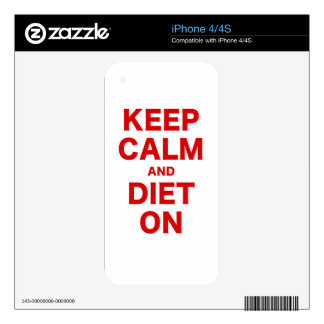 Keep Calm and Diet On Skin For The iPhone 4
