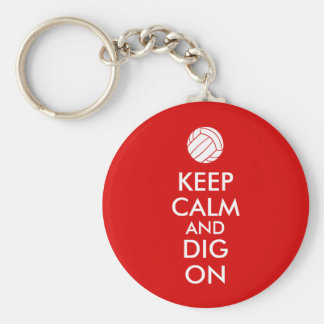 Keep Calm and Dig On Volleyball Sports Lovers Basic Round Button Keychain