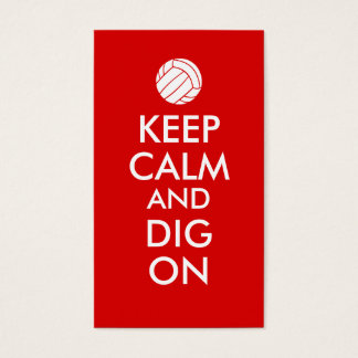 Keep Calm and Dig On Volleyball Sports Lovers Business Card