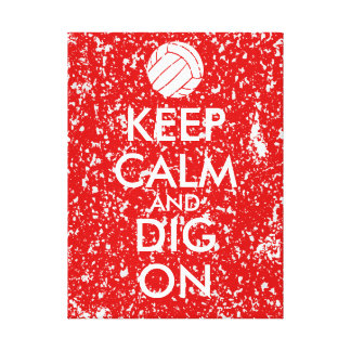 Keep Calm and Dig On Volleyball Sports Lovers Canvas Print