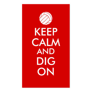 Keep Calm and Dig On Volleyball Sports Lovers Double-Sided Standard Business Cards (Pack Of 100)