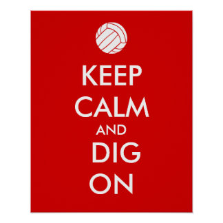 Keep Calm and Dig On Volleyball Sports Lovers Poster