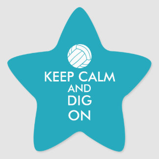 Keep Calm and Dig On Volleyball Sports Lovers Star Sticker