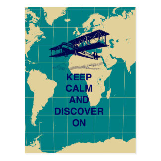 Keep Calm and Discover On motivational fun print Post Card