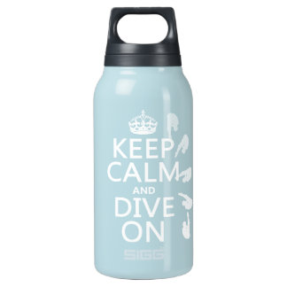 Keep Calm and Dive On (in any color) Insulated Water Bottle