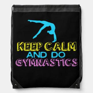 Keep Calm and Do Gymnastics Drawstring Backpack