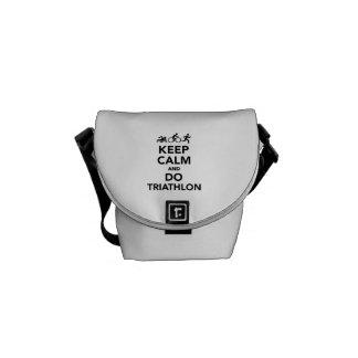 Keep calm and do triathlon messenger bags