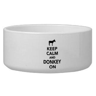 Keep calm and donkey on dog food bowl