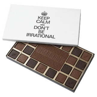 KEEP CALM AND DON'T BE IRRATIONAL 45 PIECE BOX OF CHOCOLATES