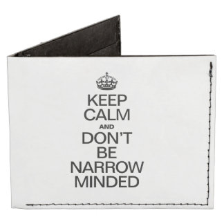 KEEP CALM AND DONT BE NARROW MINDED TYVEK WALLET