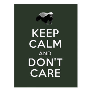 Keep Calm and Don't Care Postcard