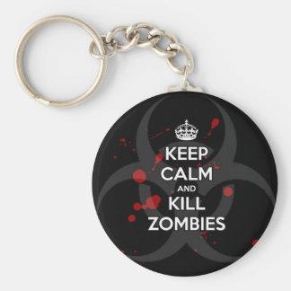 Keep Calm and don't get bit kill zombie zombies wa Key Chain