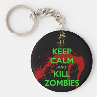 Keep Calm and don't get bit kill zombie zombies wa Key Chains