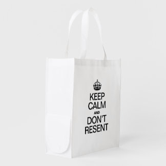 KEEP CALM AND DONT RESENT GROCERY BAG