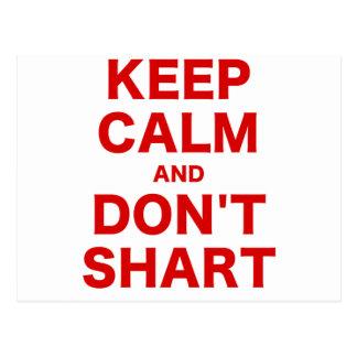 Keep Calm and Dont Shart Postcards