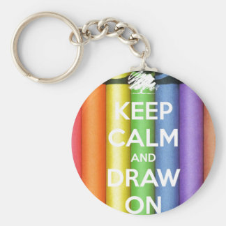Keep Calm and Draw On Crayons Keychain