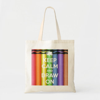 Keep Calm and Draw On Crayons Tote Bag
