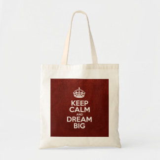 Keep Calm and Dream Big - Red Leather Tote Bag