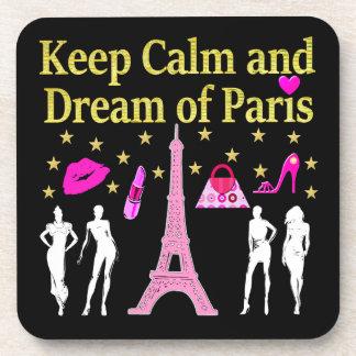 KEEP CALM AND DREAM OF PARIS BEVERAGE COASTER