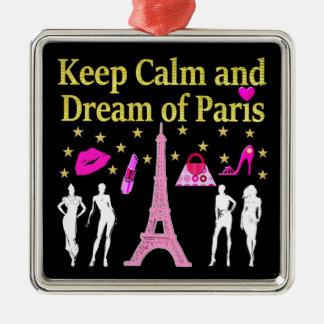 KEEP CALM AND DREAM OF PARIS METAL ORNAMENT