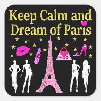 KEEP CALM AND DREAM OF PARIS SQUARE STICKER
