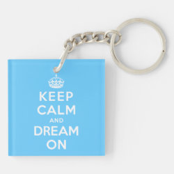 Square Keychain (double-sided) with Keep Calm and Dream On design